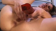 Skinny Lisa Marie blows, then takes turns fucking with a toy or his prick