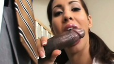 Delightful college girl gives into temptation and fucks a black man