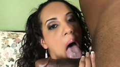 Victoria Allure eats black meat and plays hide the sausage with it