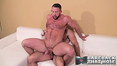 Sexy muscled guys Brad Kalvo and Shay Michaels indulge in hot anal sex