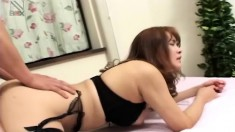 Asian gal sticks out her ass for some deep ass pounding with his hard shaft