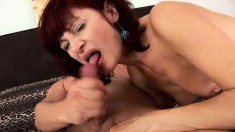 Horny brunette rides on his pecker and jerks him off to get a taste