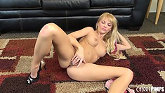 Jana Jordan deals with her sexual arousal all by herself with the help of pink phallus