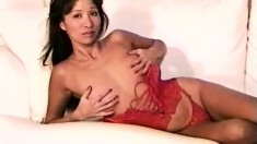 Alluring Asian milf Monica reveals her lovely tits and her hairy cunt