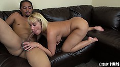 The stacked blonde with a fabulous ass seizes the chance to suck a big black rod