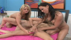 Brooke Cherry in a lesbian foursome toying and mutually masturbating