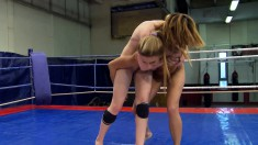 udy Smile and Joanna Sweet wrestle and get naked to eat snatch