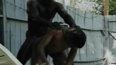Horny black thug gets his cumhole stretched in this hot gay foursome