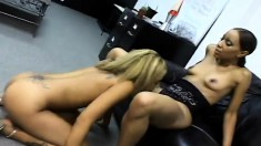 Innocent young ebony babe is eager to lick a smoking hot pussy