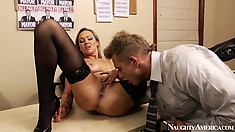 Abbey gets drilled from behind, standing up and then eaten out