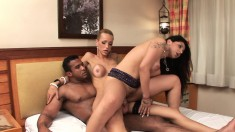 Blonde And Brunette Trannies Enjoy A Hot Experience With A Muscled Guy