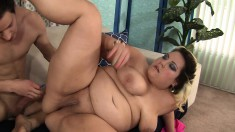 Chunky bombshell is eager to bounce on a rock-hard jackhammer