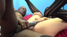 Blonde and brunette sluts get banged by a black bull and a white stud