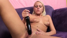 Vanessa Cage enjoys her favorite sex toys and submits to a hard shaft