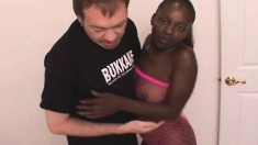 Ebony hottie in pink fishnets Latoya has a white guy drilling her ass