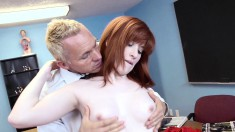 Pale white redhead with tiny boobs gets banged hard in the classroom