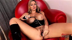Stacked blonde uses her fingers and a sex toy to reach the pleasure she desires