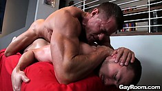 Jumping on top of him, he pounds that tight anal hole deep and hard