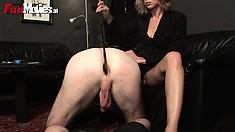 She plays with his cock, whips it, sticks a toy up his ass and gets licked again