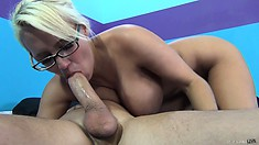 The hottie has him pumping her cunt doggy style and relishes every stroke of cock