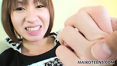 Chinatsu sits on the chair pleasing her juicy twat with her fingers and a sex toy