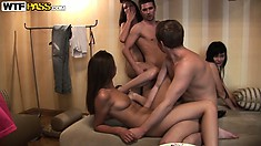 These horny bitches are sucking and fucking some college boy's cocks