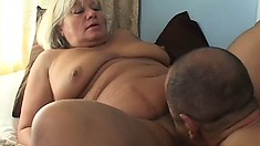 Aged blond BBW gets it on with a very well-endowed man in front of cam