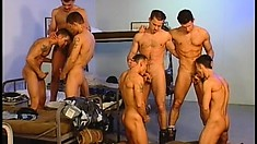 A company of crazy horny buddies spend amazing anal time together