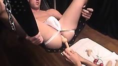 Stud Mike Austin screws his boyfriend's bunghole using a sex swing