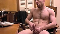 Muscular stud with a buzzcut plays with his member and tight ass