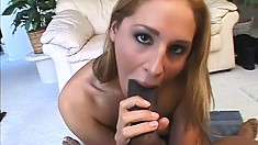 Blonde in fishnets works on a big black cock in mouth and ass and goes ATM