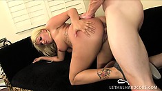 Stunning blonde with a marvelous ass bends over and gets fucked hard from behind