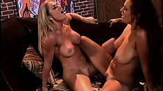 Two stunningly gorgeous babes get into steamy girl-on-girl fuck fest