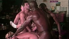 A group session of gay guys where they worship cock and fill holes
