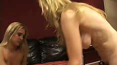 Luscious cougar and lovely young blonde indulge in wild lesbian action