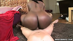 Chunky ass ebony Chanel eats some white meat and then rides it