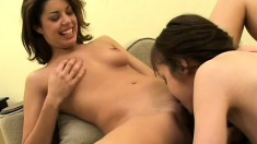 Coed girls experiment in some lesbian action with dildos and a double dildo