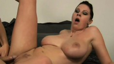 Hot piece of ass works a horny dudes cock with her amazing jugs