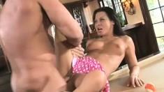 Perky chica Sandra Romain gets her vag ravaged a white dude's wand