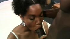Ebony girl in white stockings takes a massive black prick in her ass