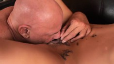 Tattooed blonde nerd with glasses blows and gets her pussy hammered