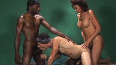 Hot cougar gets her boy toy to go both bisexual and interracial