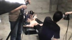 Adorable Japanese chicks getting their faces sprayed with hot semen