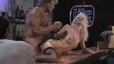 Ripped blond guy gets to slam this hot young chick's firm butt