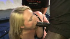 Freaky blonde PAWG gets fucked and pissed on by several guys