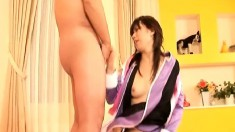 Luscious Japanese housewife gets her peach banged deep and creampied