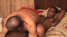 Two horny black partners indulging in hardcore anal action on the bed