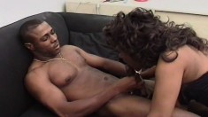 Bodacious and horny black secretary gets pounded deep by a dark stud