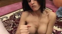 Buxom brunette slut Shy Love makes Harry's dick explode with pleasure