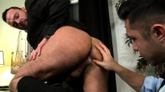 Two hot business guys seize the chance to fulfill their anal fantasies